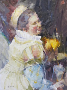 A Lady with Feather Fan