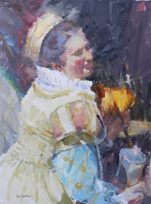 A Lady with Feather Fan (24x18) oil painting