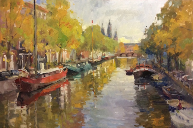 Autumn in Amsterdam oil painting(24x36)
