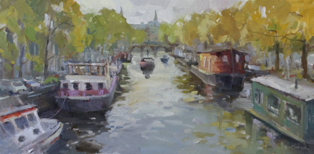 Canal Boats In Autumn