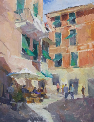 Green Shutters Cinque Terra, Italy oil painting