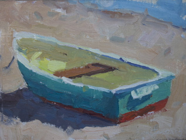 Green Boat (5x7) oil painting