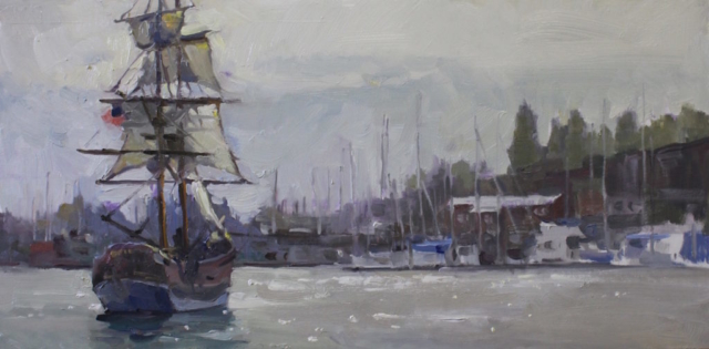 Legendary Journeys oil painting of Tall Ship in Oakland Harbor