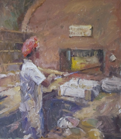 Wood fire Pizza Oven oil painting