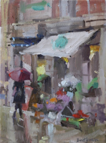 Spain flower shop oil painting