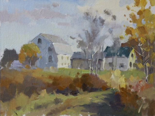 Autumn Farm, 9 x 12 oil painting