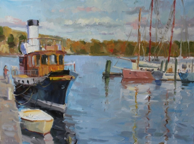 Antique Boat in Belfast Harbor oil painting