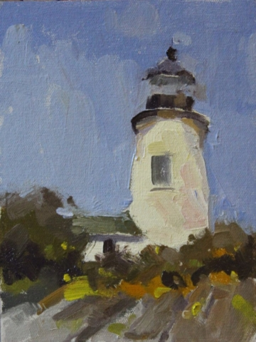 Maine Lighthouse oil painting